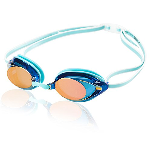 Speedo Women's Vanquisher 2.0 Mirrored Swim Goggles, Panoramic, Anti-Glare, Anti-Fog with UV Protection, Aqua, 1SZ