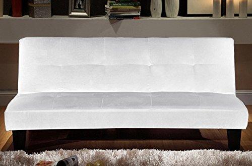 DIVANO LETTO 164x75cm TESSUTO BIANCO 3 POSTI RECLINABILE DESIGN MODERNO SALOTTO mod.NINA