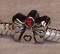 Pugs & Pandoras Angel Red Rhinestone CZ July Birthstone Bead for Silver European Charm Bracelets PP20470