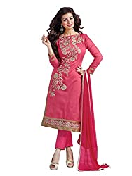 M Fab Ethnic Embroidered Pink Chanderi Cotton Free Size Straight Chudidar Party Wear Salwar Suit Dupatta Un-Stitched Dress Material