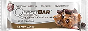 Quest Nutrition Protein Bar Chocolate Chip Cookie Dough Flavor, 12 Count, 25.4 Ounce