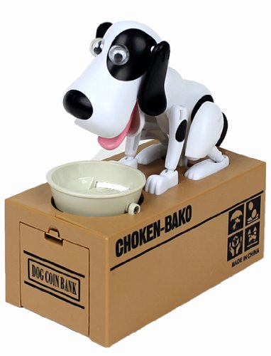 Hungry Hound Coin Bank Robot Dog Save Money Coin Eating Dog Box Funny Gift (White spot)/ Choken Bako Robotic Dog Coin Bank-2*AA - 1