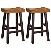 Ashley Furniture Signature Design - Glosco Barstool Set - Pub Height - Vintage Casual - Set of 2 - Two-tone