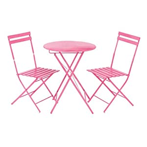 parisian pink bistro table outdoor and