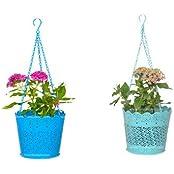 Trust Basket Set Of 2 Lace Hanging Basket- Blue And Teal