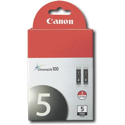 Canon PGI-5 BK 2-Pack Pigment Black Ink Tanks 0628B009