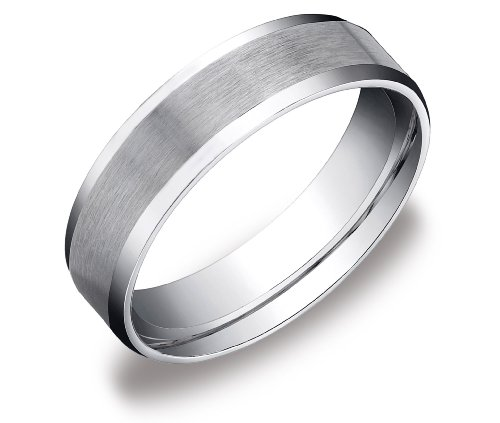 6mm Brushed Center Men's Wedding Band in 14k White Gold