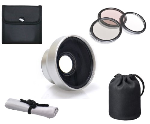 Sony Dcr-Sx45 High Definition 2.5X Telephoto Lens (37Mm) + 3 Piece Lens Filter Kit (25Mm) + Nwv Direct Microfiber Cleaning Cloth