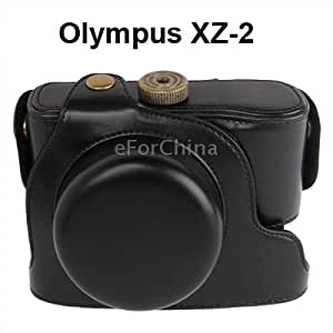 Digital Leather Camera Case Bag with Strap for Olympus XZ-2 (Black)
