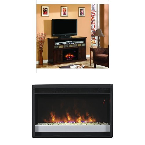 "Complete Set Margate Media Mantel In Caramel Oak With 26"" Contemporary Spectrafire Plus Insert With Safer Plug"