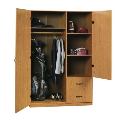 Sauder Woodworking / Beginnings Wardrobe Storage Cabinet (Oregon Oak)  (71.496u2033H X 47.52u2033W X 19.449u2033D)