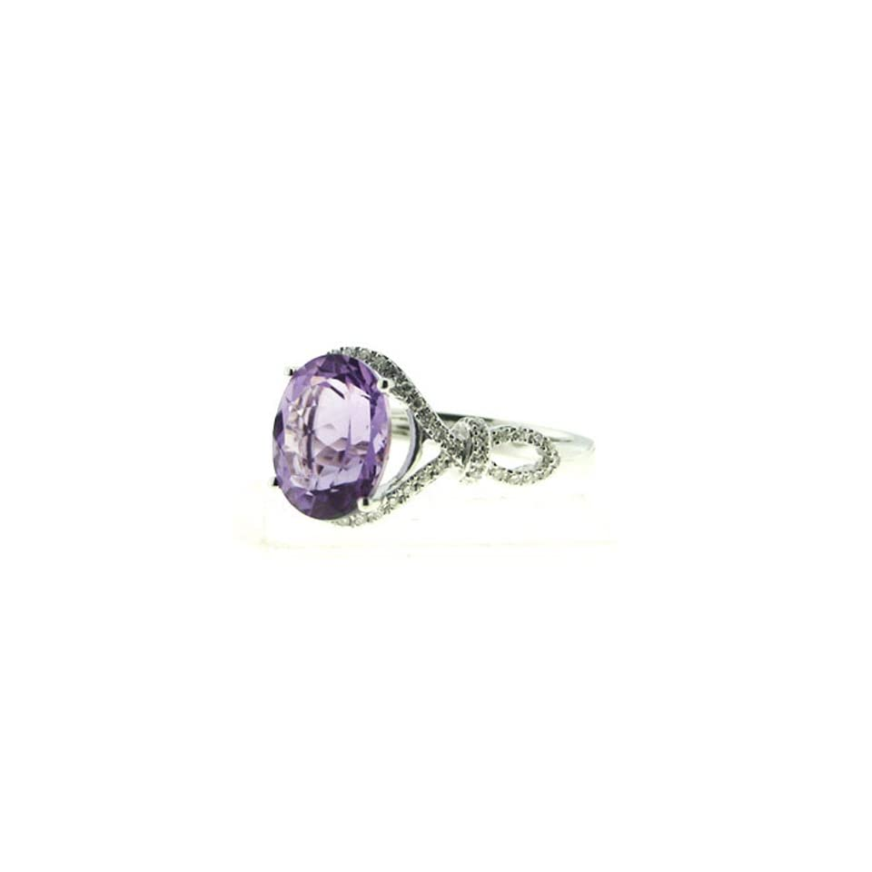 14K White Gold 3.52cttw Round Diamond and Oval Purple Amethyst Gemstone Ring Jewelry