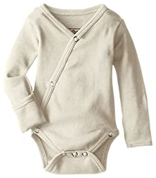 L\'ovedbaby Unisex-Baby Organic Cotton Kimono Long Sleeve Bodysuit, Stone, 0/3 Months