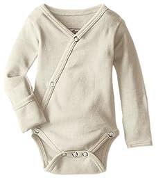 L\'ovedbaby Unisex-Baby Organic Cotton Kimono Long Sleeve Bodysuit, Stone, 0/3 Months