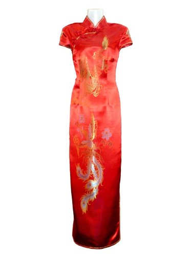 Dragon and phoenix bridal red dress
