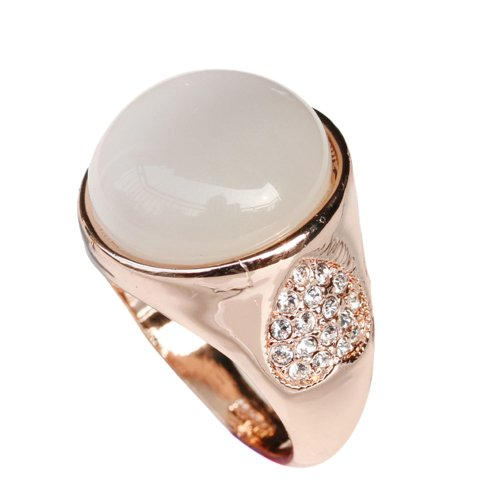 Fashion Plaza Shell Band Use Swarovski Heart 18K Gold Plated Engagement Wedding Ring Size 8