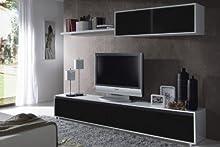 Comprar Habitdesign - Mueble de comedor moderno TV, color blanco y negro brillo
