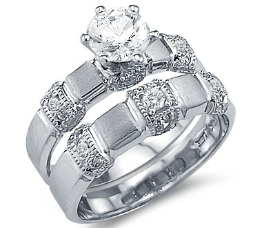 Size- 9 - Solid 14k White Gold Matching Engagement Wedding CZ Cubic Zirconia Ring Set Round Cut 1.5 ct