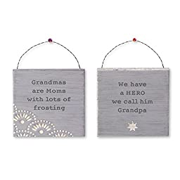 Grandma and Grandpa Mini Gift Signs - Set of Two - 4.5 Inches X 4.5 Inches