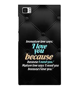 EPICCASE mature love quotes Mobile Back Case Cover For Xiaomi Mi3 (Designer Case)