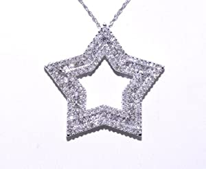 14K White Gold Diamond Star Charm