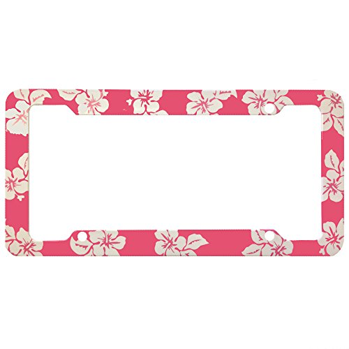 Rose Pink Hawaiian Hawaii Aloha Print with White Hibiscus Flowers Wild Series Car Truck SUV Plastic License Plate Frame (Hibiscus License Plate Frame compare prices)