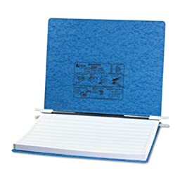 ACCO Products - ACCO - Pressboard Hanging Data Binder, 14-7/8 x 11 Unburst Sheets, Light Blue - Sold As 1 Each - Top and bottom loading binder expandable for various sized projects. - Retractable storage hooks for single point or drop file hanging systems
