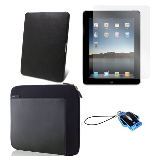 (Black Stone) Apple iPad skin silicone case / leather case for iPad 3G cover neoprene sleeve case accessory bundle + screen protector + MiniSuit LCD Cleaner