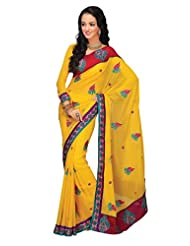 Prafful Gorgette Saree With Unstitched Blouse - B00KNUMDFM