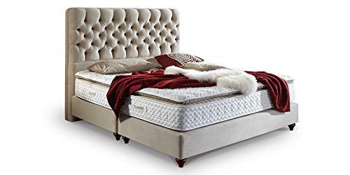 Boxspringbett-180x200-Beige-Vegas-Hotelbett-Doppelbett-Matratze-Topper-Modern-Luxus-Bett-180x200cm-Beige