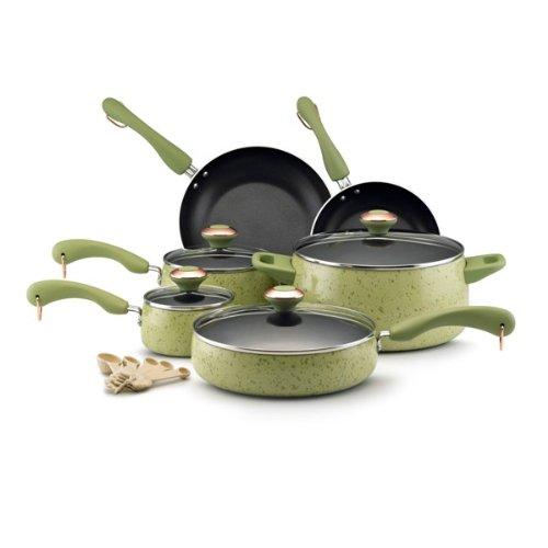 Paula Deen Signature Porcelain Nonstick 15-Piece Cookware Set, Pear Speckle