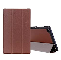 SPL Premium PU Leather Book Stand Cover for Lenovo Tab 2 A850 8-inch (A8-50)-Brown