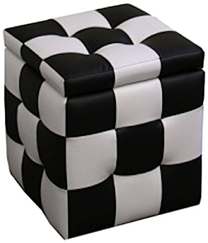 Ore International HB4443 Checkered Block Storage Ottoman Plus 1-Seating, 16-Inch