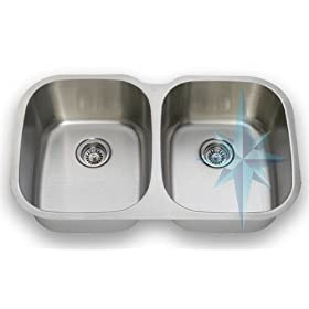 Polaris Sinks 405 Undermount Equal Double Bowl Kitchen Sink- Stainless Steel