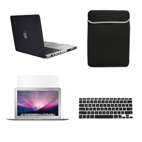 """Topcase Macbook Pro 15"""" 15-Inch A1398 With Retina Display 4 In 1 Bundle - Rubberized Hard Case Cover + Matching Color Soft Sleeve Bag + Silicone Keyboard Cover + Lcd Hd Clear Screen Protector (Latest Version / No Dvd Drive / Release June 2012) With Topcas"""