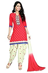 Justkartit Women's Red & Off-white Mirror Work Embroidery Casual & Party Wear Patiala Salwar kameez (Special Ramadan Collection 2016)