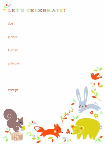Party Partners Design 12 Count Themed Fill-In Style Party Invitations, Forest Friends