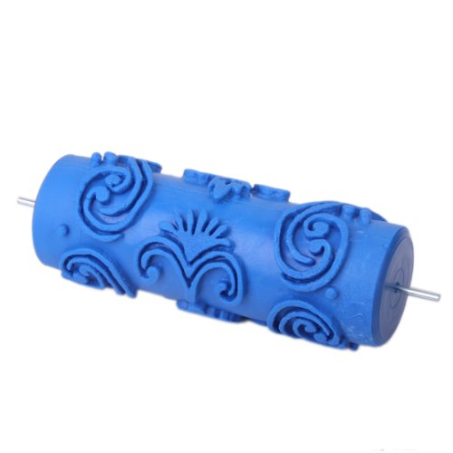 15cm Empaistic Flower Pattern Painting Roller for DIY Wall Decoration Manual Tool- Blue