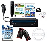 Nintendo Wii Black Sports Bundle with 3 Games, Wheel, and More