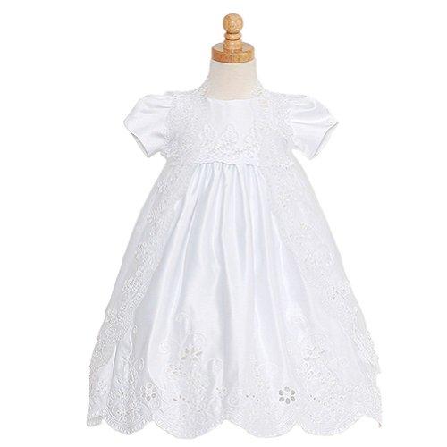 Rain Kids Baby Girls 12M White Satin Puff Sleeve Pearl Baptism Dress front-700013