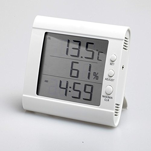HITO Humidity/Indoor Outdoor Temperature Clock w/ Max and Min and Remote Probe (White) - 1