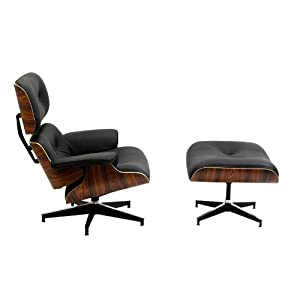 LexMod Eaze Lounge Chair in Black Leather and Palisander Wood