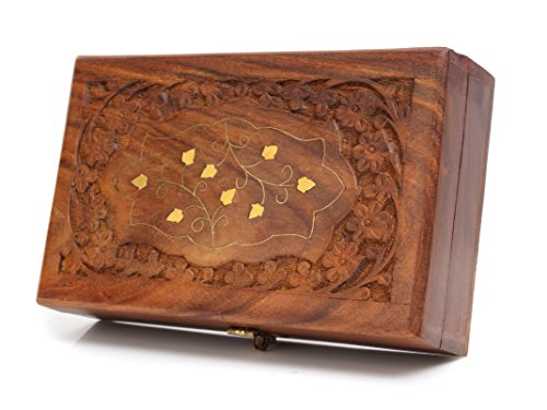 Elegant Rosewood Jewelry Box Organizer with Hand Chiseled Intricate Carving and Brass Inlay, 8 x 5 x 2.5 inches