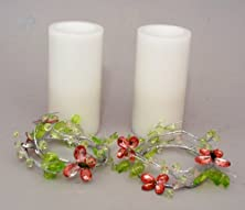 "buy Set Of 2 3X6"" Led White Candles With Butterfly Candle Rings"