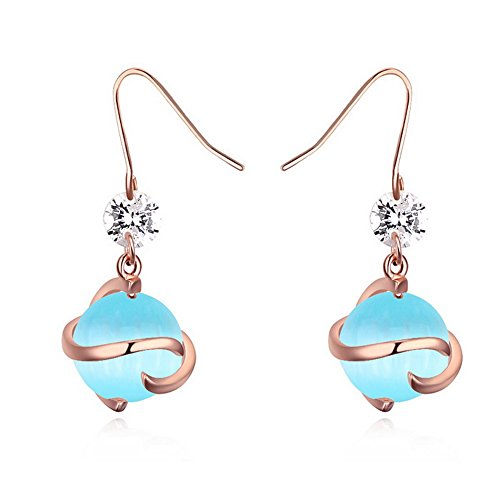 Alvdis One Pair Orb Style Cats Eye Stone Rhinestone Crystal Fashion Ear Ring Earrings, Blue