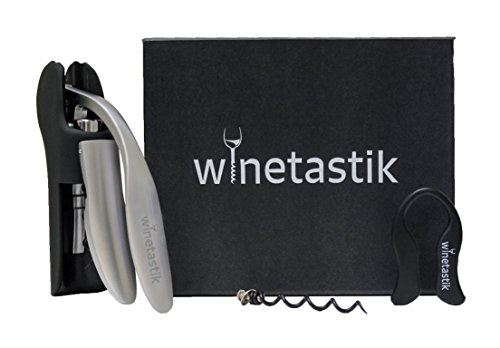 Best Wine Opener by Winetastik, Lever Screwpull Design, 3 Piece Gift Set with Foil Cutter and Bonus Corkscrew in Stylish Box, Compare to Rabbit Wine Opener (Marvel Wall Bottle Opener compare prices)