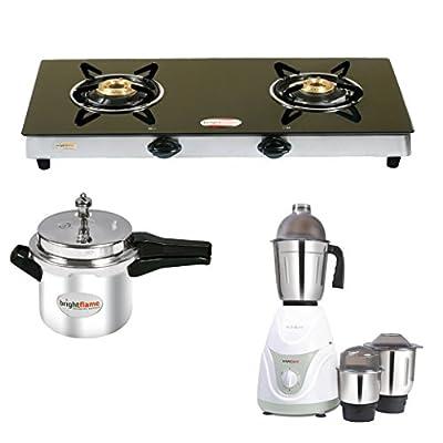 2 Burner Black Glass Stove & Aluminium Pressure Cooker 3 Ltr & Mixer Grinder 3 Jar Jura