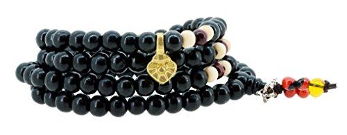 Handmade Tibetan Elastic String 8mm Black Wood 108 Prayer Beads Wrap Bracelet Mala with Removable Charms (Tibetan Charm)