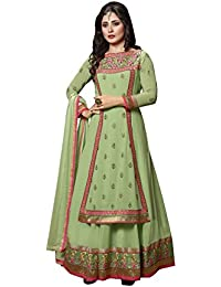 Sk Creation Rimi Sen Olive Green Neck Embroidered Semi Stitched Floor Length Anarkali Suit