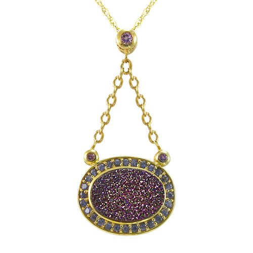 Gold Plated Sterling Silver Oval Purple Drusy Drop Pendant Necklace , 18